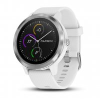 Часы Garmin Vivoactive 3 серебристые с белым ремешком