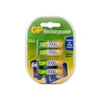 Аккумуляторы никель-металлгидридные 1000 мАч ААА  (NiMH) GP 100AAAHC-100AAAHC-2DECR4, 4 шт. в упаковке