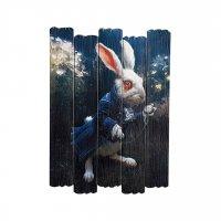 """Картина на досках """"Кролик из Алисы в Стране Чудес"""" 70*50см"""
