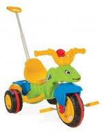 """Трехколесный велосипед Pilsan """"Tirtil"""" с родительской ручкой  зелено-желто-синий"""